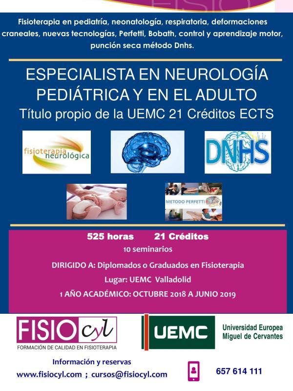 Especialista universitario en Fisioterapia neurológica en pediatría y en el adulto