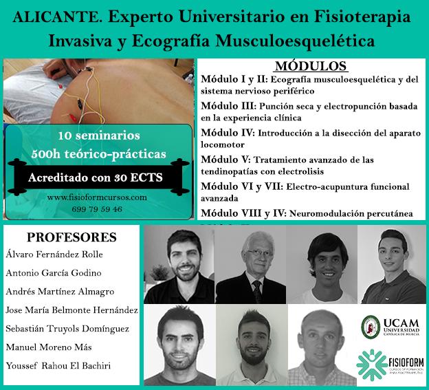 Experto universitario en fisioterapia invasiva y ecografía musculoesquelética (Alicante) Fisioform-Ucam. 30 créditos ects