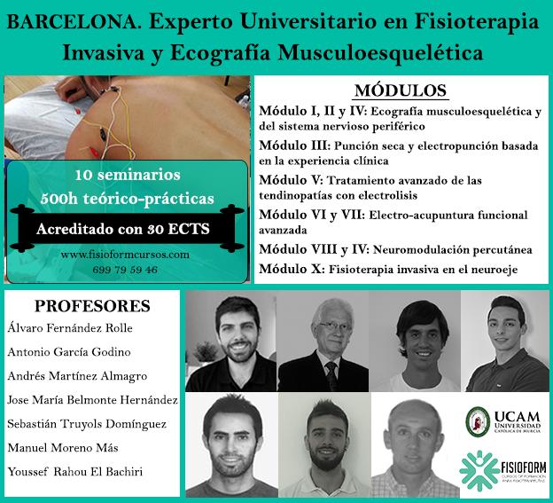 Experto universitario en fisioterapia invasiva y ecografía musculoesquelética (Barcelona) Fisioform-Ucam. 30 créditos ects