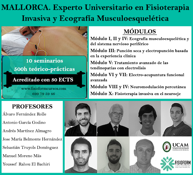 Experto universitario en fisioterapia invasiva y ecografía musculoesquelética (Mallorca) Fisioform-Ucam. 30 créditos ects