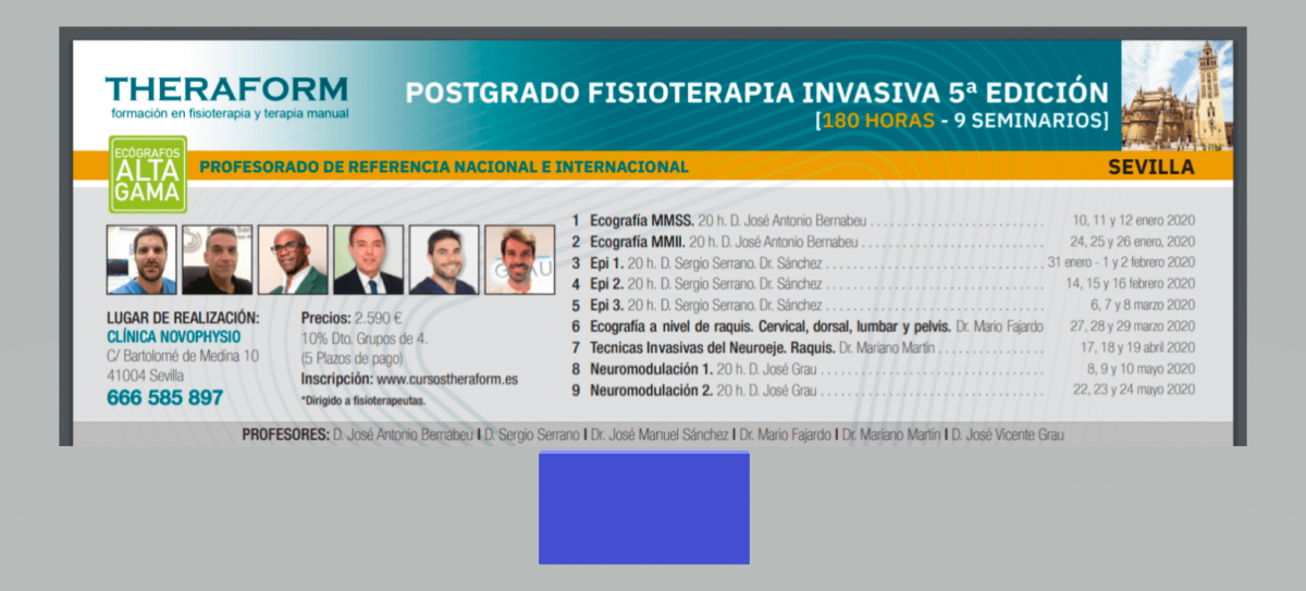 Postgrado fisioterapia invasiva musculoesquelética. 5ª Edición Sevilla
