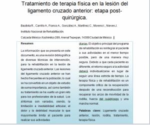 Tratamiento de terapia física en la lesión del ligamento cruzado anterior: etapa post-quirúrgica.