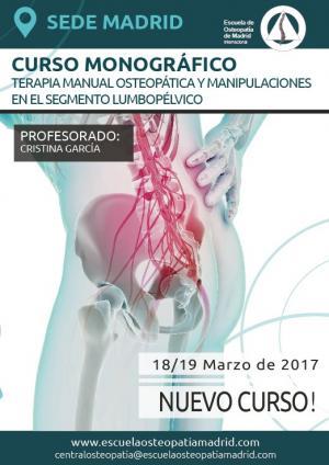 CURSO MONOGRÁFICO TERAPIA MANUAL OSTEOPÁTICA Y MANIPULACIONES EN EL SEGMENTO LUMBOPÉLVICO