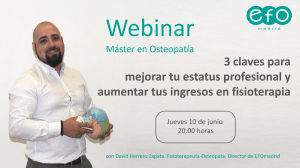 Webinar gratuito: 3 claves para mejorar tu estatus profesional y aumentar tus ingresos en fisioterapia