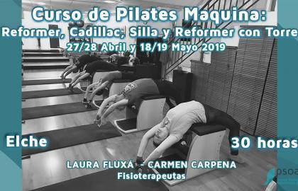Curso de Pilates Máquina: Reformer, Cadillac , Silla y Reformer con torre. Alicante.