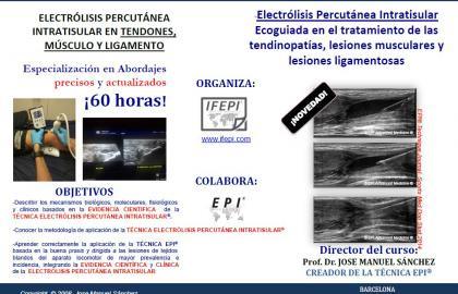 TÉCNICA EPI® ecoguiada en el tratamiento de las tendinopatías, lesiones musculares y lesiones ligamentosas. BARCELONA
