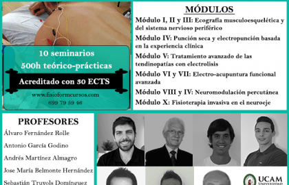 Experto universitario en fisioterapia invasiva y ecografía musculoesquelética (Madrid) Fisioform-Ucam. 30 créditos ects
