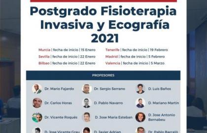 Postgrado Fisioterapia Invasiva y Ecografia Valencia. Titulo Propio UCAM.  Curso Acreditado.