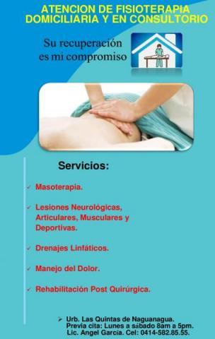 Atención de Fisioterapia domiciliaria y en consultorio.