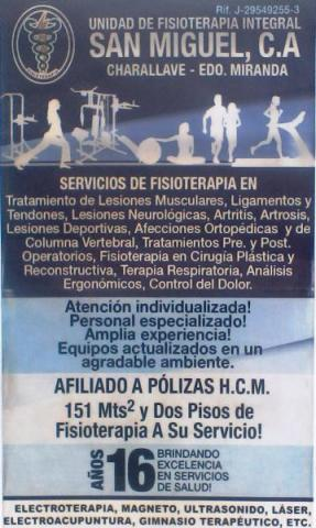 Unidad de Fisioterapia Integral San Miguel C.A.